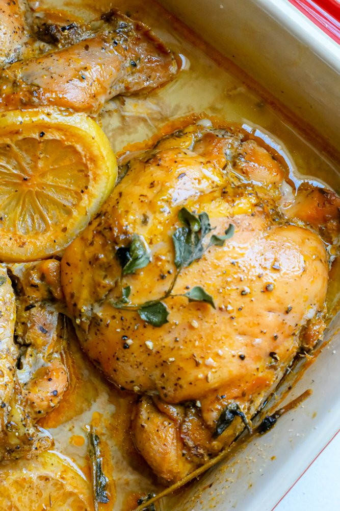 Greek chicken thigh in a baking dish with oregano and lemon in pan