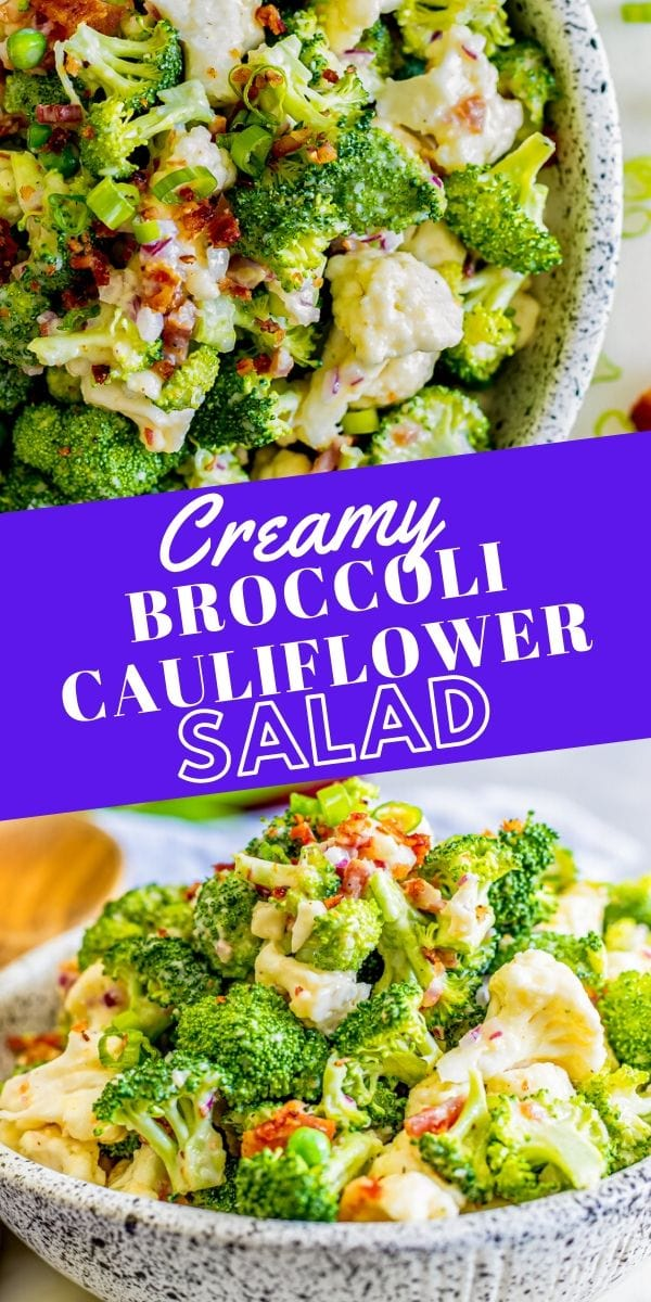 broccoli and cauliflower in a creamy dressing in a bowl