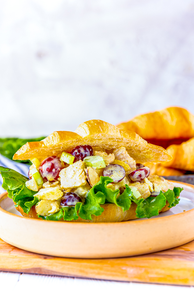 creamy chicken salad with fruit on a croissant picture