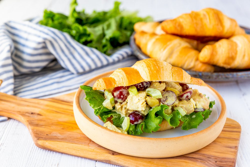 chicken salad sandwich on a plate picture
