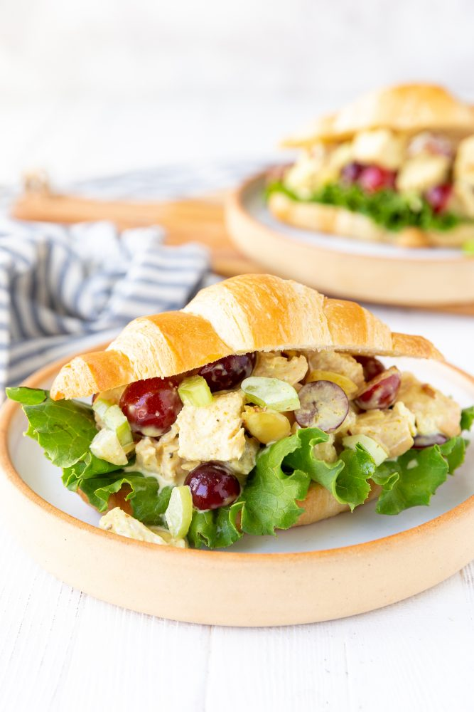 chicken salad croissant sandwich on a plate picture