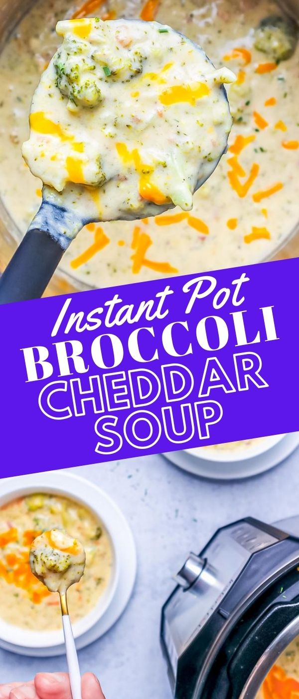 soup ladle with broccoli cheese soup over an instant pot picture