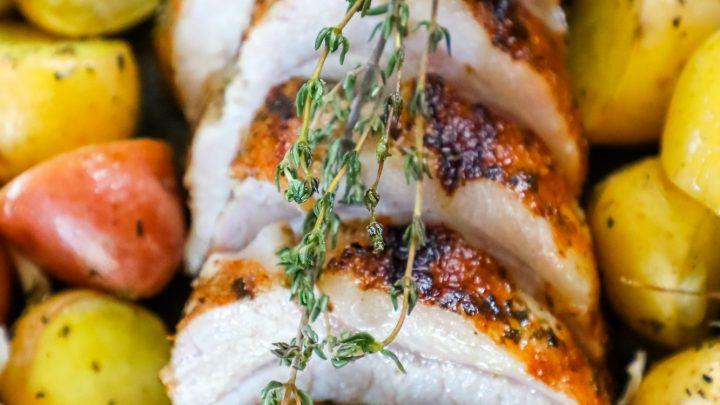 Garlic Herb Butter Baked Pork Loin and Potatoes Recipe