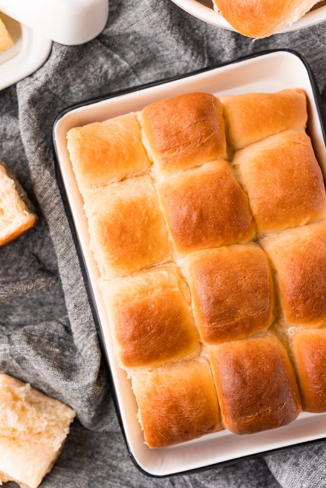 picture of soft buttery rolls in a baking dish
