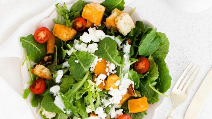 Roasted Sweet Potato Goat Cheese Salad
