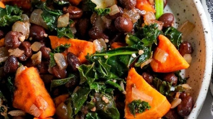 Sweet Potato, Kale, and Black Bean Skillet