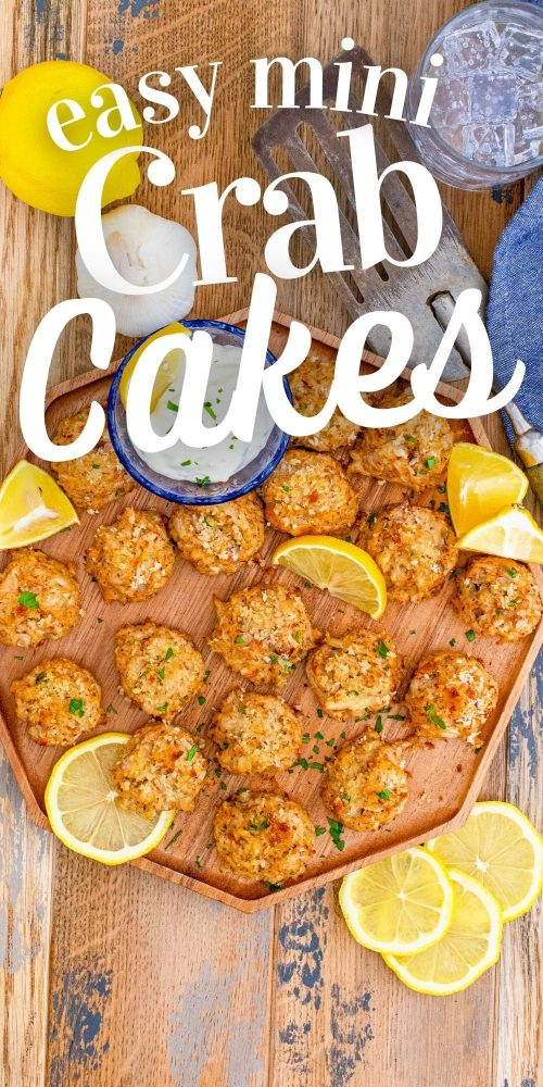 picture of crab cakes on a wooden platter