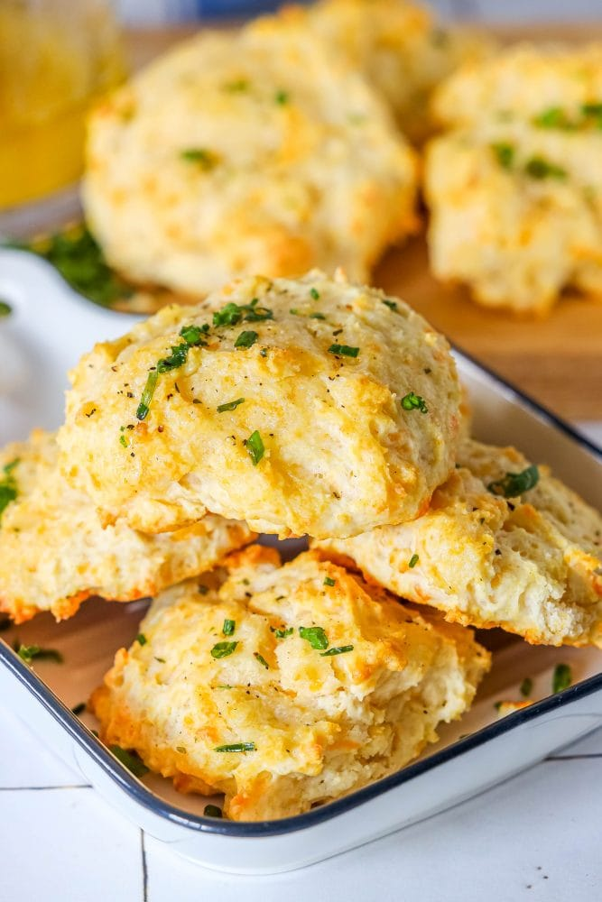 picture of cheddar bay drop biscuit on a cutting board