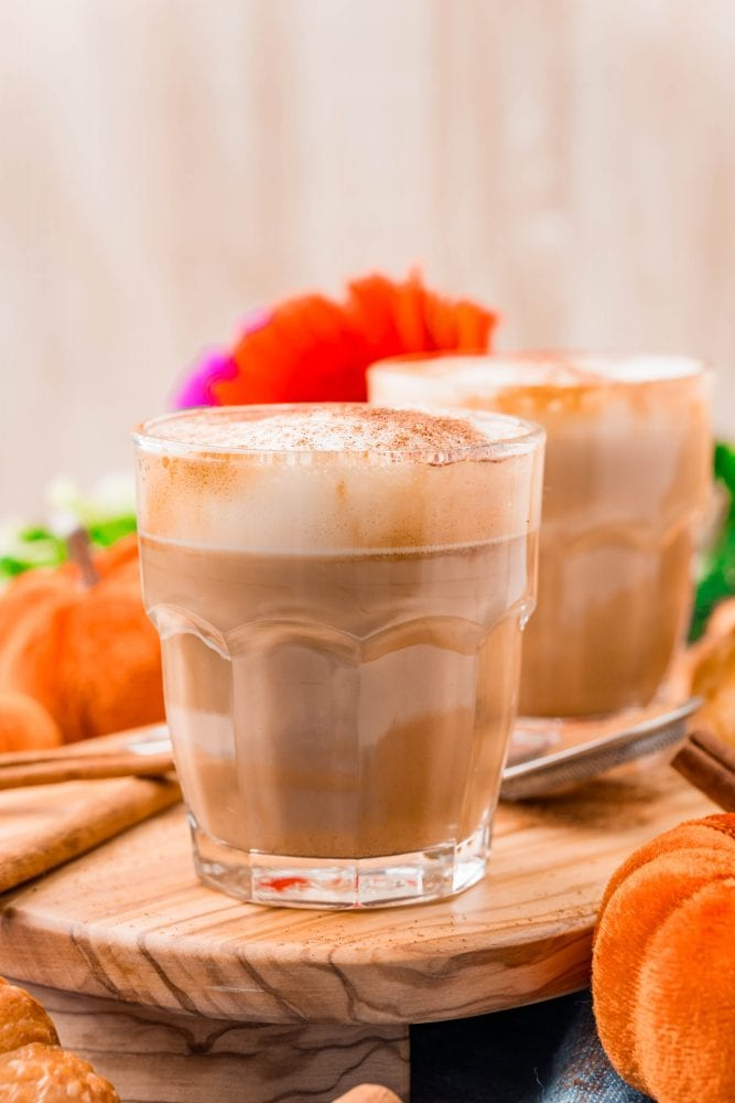 picture of pumpkin spice latte in a glass