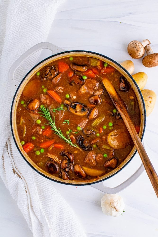 picture of venison stew in a dutch oven