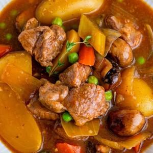 venison stew in a dutch oven