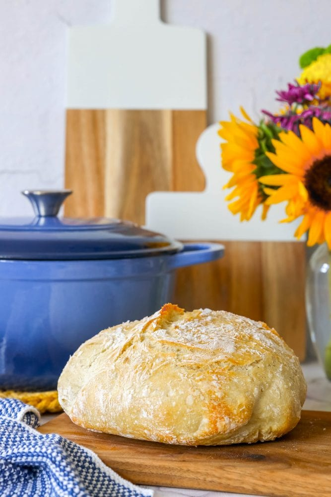 picture of no knead bread on a cutting board