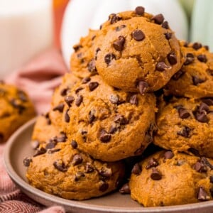 picture of chocolate chip pumpkin spice cookies on a plate