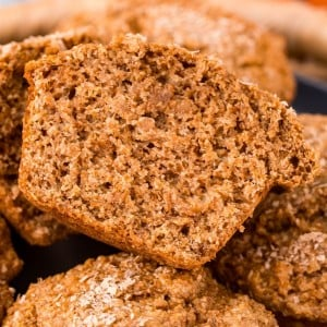 picture of a bran muffin that is cut in half