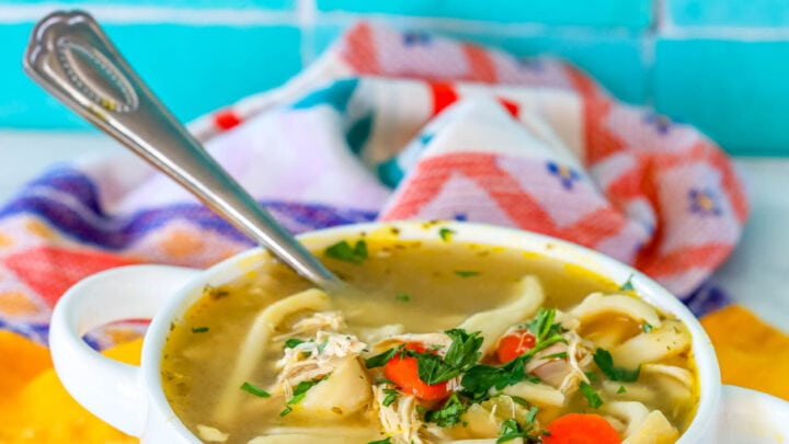 picture of chicken noodle soup in a white bowl